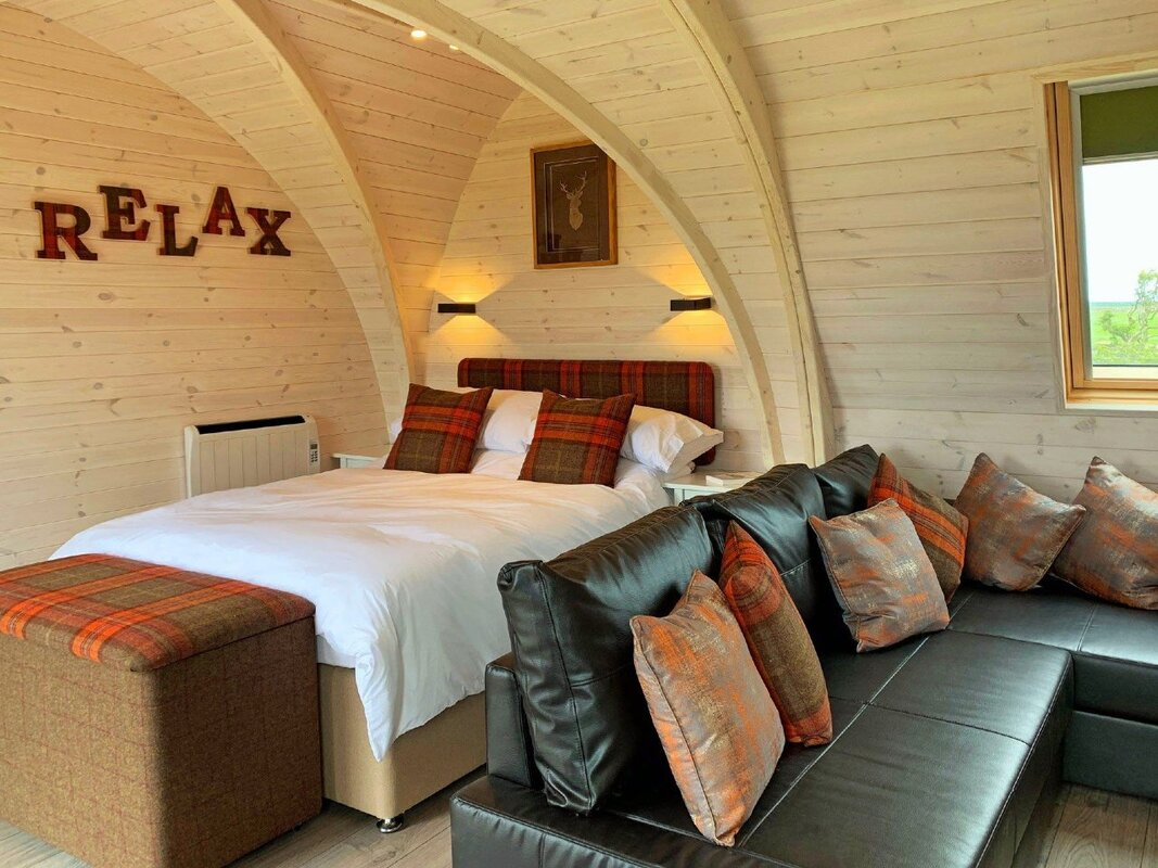 Chic camping pod hotel room accommodation