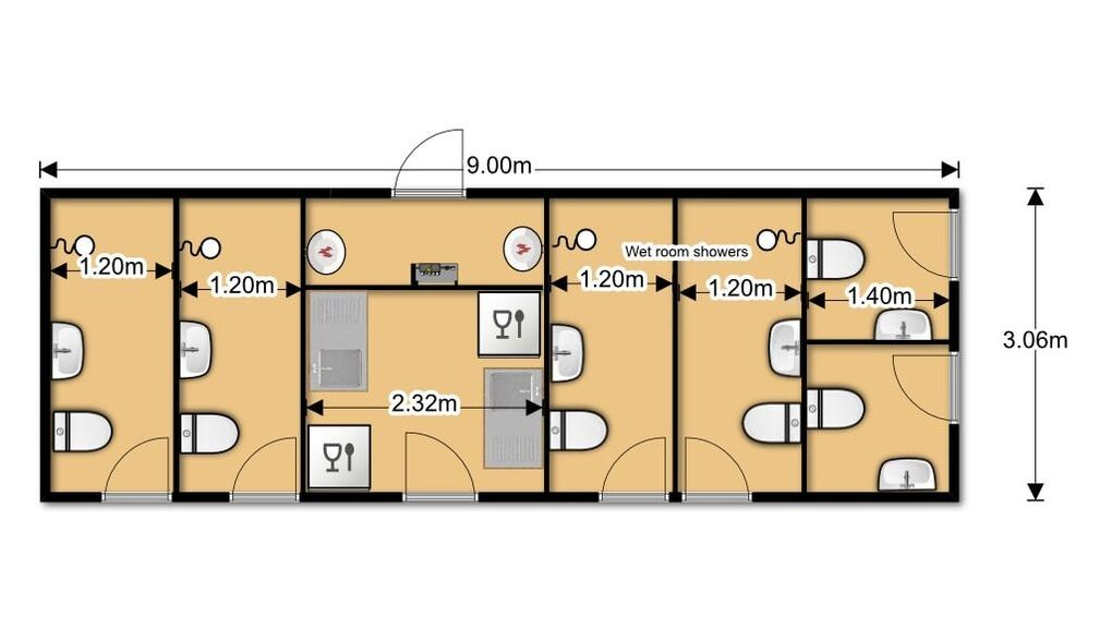 Toilet Shower Block Layout